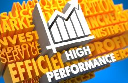 High Performance with Growth Chart - White Color Text on Yellow WordCloud on Blue Background.