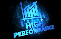 High Performance Concept - Blue Color Text with Growth Chart Icon on Dark Digital Background.