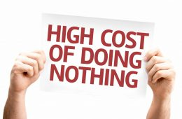 High Cost of Doing Nothing card isolated on white background